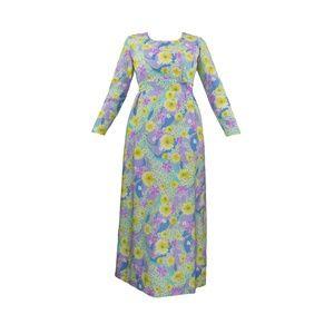 Vintage 1970's Pastel Floral Longsleeve Maxi Dress
